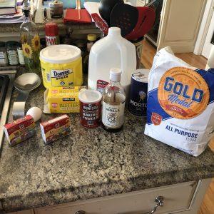 Ingredients for donut batter