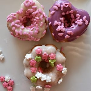 """Decorated """"I'm Glasze-y For You"""" Donuts"""