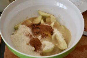 Adding sugar and cinnamon
