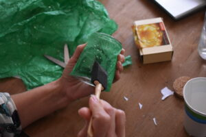 Gluing Tissue Paper to Jar